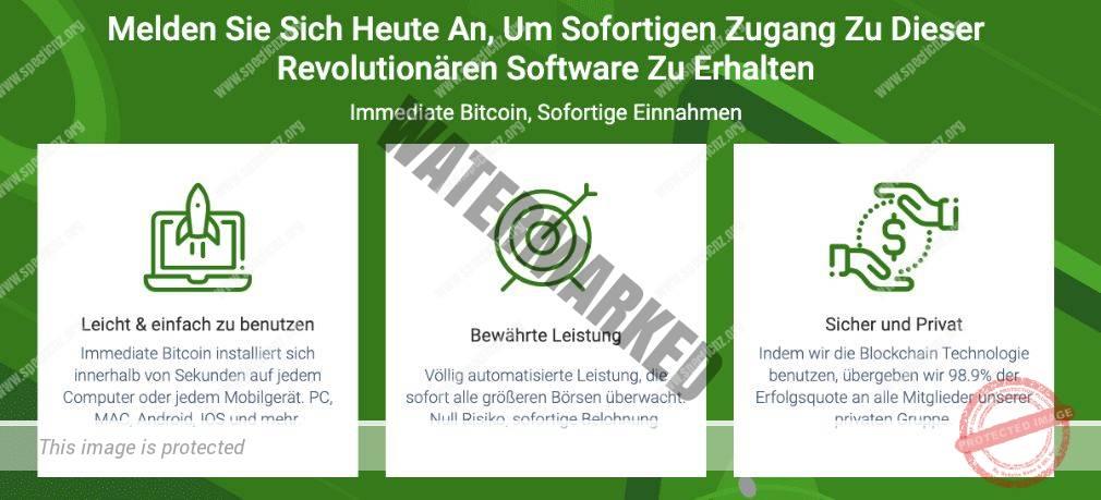 Immediate Bitcoin Eigenschaften